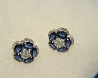 Last Call! Nwt 6600 Rare Magnificent 18KT Gold Large 6CT Saphhire Diamond Floral Flower Earrings