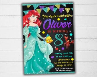 The little Mermaid Invitation, The little Mermaid Party, The little Mermaid Birthday Invitation, Girl The little Mermaid Invitation