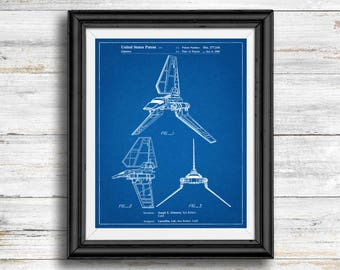 Star Wars Imperial Shuttle Full Image Patent Poster, Imperial Shuttle Print, Starwars Art, Star Wars Characters, Vintage, Spaceship