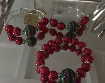 Red, Green and silver Earring & Bracelet set