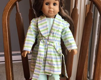 "Cotton pajamas with robe and slippers fit 18""dolls such as American girl."