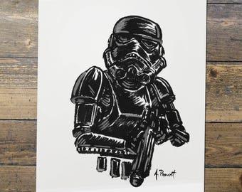 Shadowtrooper - Stormtrooper - Star Wars - Fan Art - Stormtrooper Print - Gift for Him