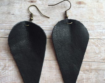 Leaf Earrings, Leather Earrings, Large Earrings, Lightweight Earrings, Statement Earrings, Reverse Teardrops, Joanna Gaines Inspired Earring