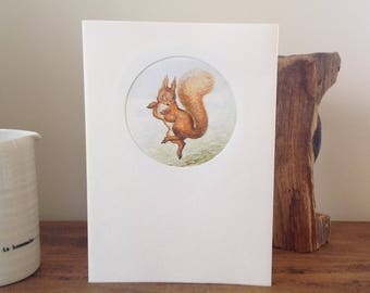Beatrix Potter, Squirrel Nutkins greeting card made with vintage illustration