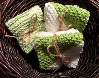 Hand Knitted Washcloth, Dishcloth Set of 2