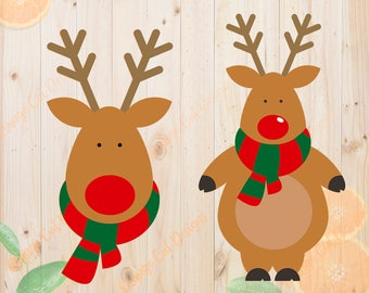 Christmas Rudolph Svg, Christmas Deer Cut file, Layered rudolph cutfile Dxf, Eps & Png files for Cricut/Silhouette studio, xmas svg, deer dx
