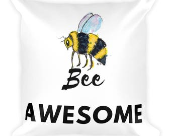 Bee Awesome 18x18 Pillow