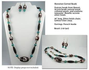 Hawaiian Carved Bead Necklace with Turquoise Accent Set