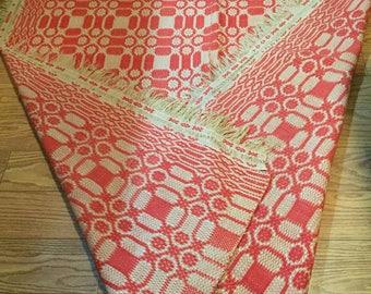 "Vintage Handmade 1800's Coverlet blanket 70"" X 80"""