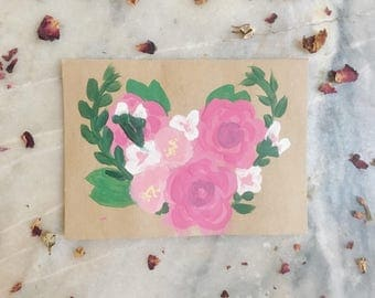 Rose Bouquet Hand Painted Greeting Card