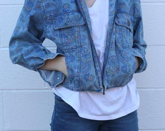 80's Paisley Print Denim Jacket