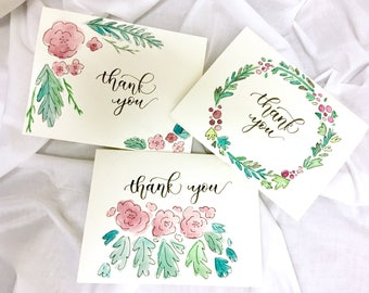 3 Floral Watercolor Hand Lettered Thank You Cards with Envelopes