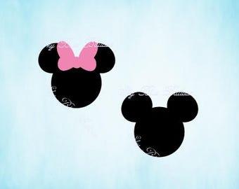 Disney SVG, Mickey SVG File, Minnie Svg, Mouse Svg, Vinyl Cutting File, Minnie DXF File, Mickey Silhouette, Digital File, Cricut, Disney Dxf