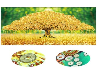 Finished/unfinished embroidery.The coin tree in diamond embroidery(painting)