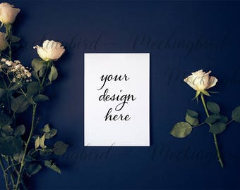 Styled stock photography card mockup white roses on dark background A5 - 15x21cm - High Res Jpeg + PSD smart object mock up