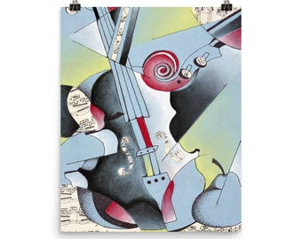 Abstract Blue Violin - Beautiful Archival Cotton Rag Fine Art Giclée Print Supporting the Nonprofit Fresh Artists
