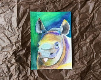 Watercolor painting postcard baby Rhinoceros sticking tongue out