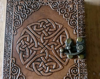 Leather journal diary grimoire  Celtic notebook