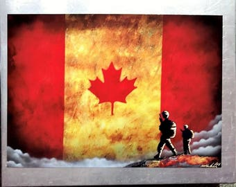Military Canadian Flag - Spray Paint Art