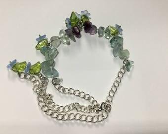 Crystal Fluorite and flower bracelet