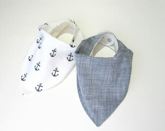Boy bandana bibs-Bamboo bandana bibs for boys-Baby anchors bib-Chambray indigo bib-Baby shower gift-Boy bibs