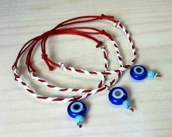 BUY2 + 1FREE Evil Eye, Handmade Braided March bracelet, Traditional Greek Custom,  Martis bracelet, Martenitsa, Spring Jewelry