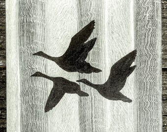 Flying ducks rustic wood grey acrylic oil painting Home decor sign