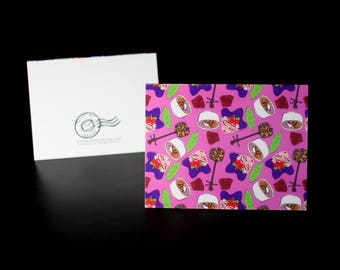 """5.5""""x4"""" Okinawa themed Greeting Card in Pink"""