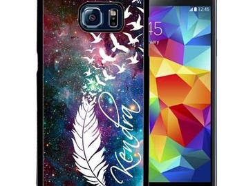 Personalize Rubber Case For Samsung Note 3, Note 4, Note 5, or Note 8- Cosmos Feathers Space Birds