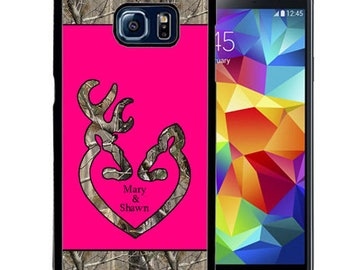 Personalize Rubber Case For Samsung Note 3, Note 4, Note 5, or Note 8-  Hot Pink Camo Deer Head