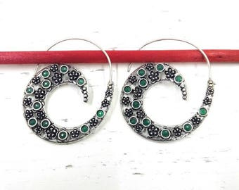 Ethnic spiral earrings Boho style