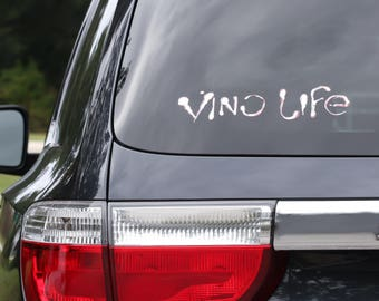 Vino Life Diecut Decal- White with merlot outlines