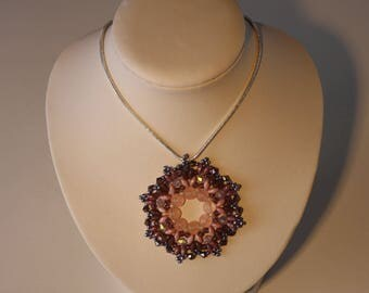 Pink-purple glass beads pendant