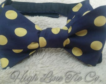 Blue with gold dots, self-tie bow tie