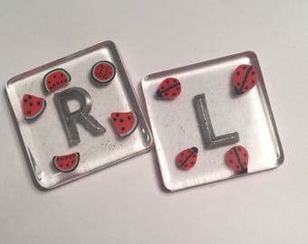 Watermelon and Ladybug X-ray Markers (One Pair)