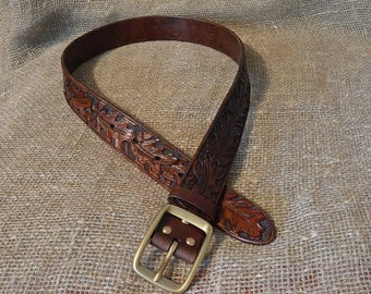 Mens custom tooled handmade leather belt / Leather Belt / Hand Tooled Leather Belt