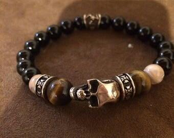 Bracelet Men/Women Mens Skull 8 mm Genuine onyx