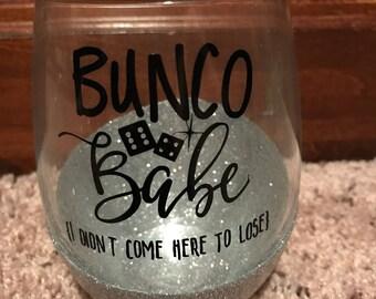 Bunco Babe Glitter Wine Glass