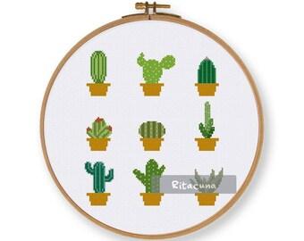 Beginner Cactus cross stitch pattern, natural lovely cute flower succulent counted cross stitch design, diy gift house decor wall art hoop