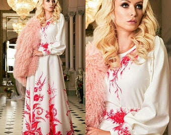 Gzhel red - Dress in Russian Style