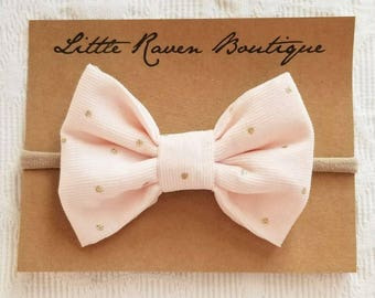 Pink/Gold Corduroy Bow, Baby Bow, Toddler Bow, Baby Headband, Toddler Headband, Alligator Clip