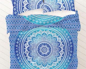 Boho Queen Size Mandala Bedding Duvet Doona Set - Blue Star
