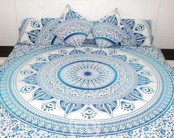 Boho Queen Size Mandala Bedding Duvet Doona Set - Blue Sun
