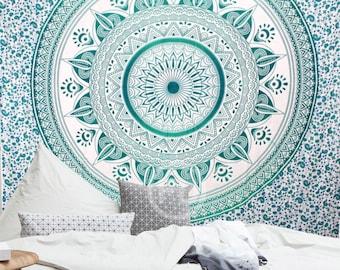 Boho Queen Size Mandala Tapestry - Green Sun