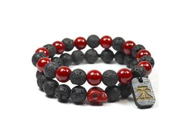 2 Pack Red Lava Rock Bracelet Set