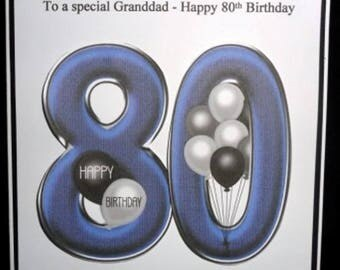 Personalised Handmade Balloons 80th Birthday Card Dad Grandad Uncle Brother