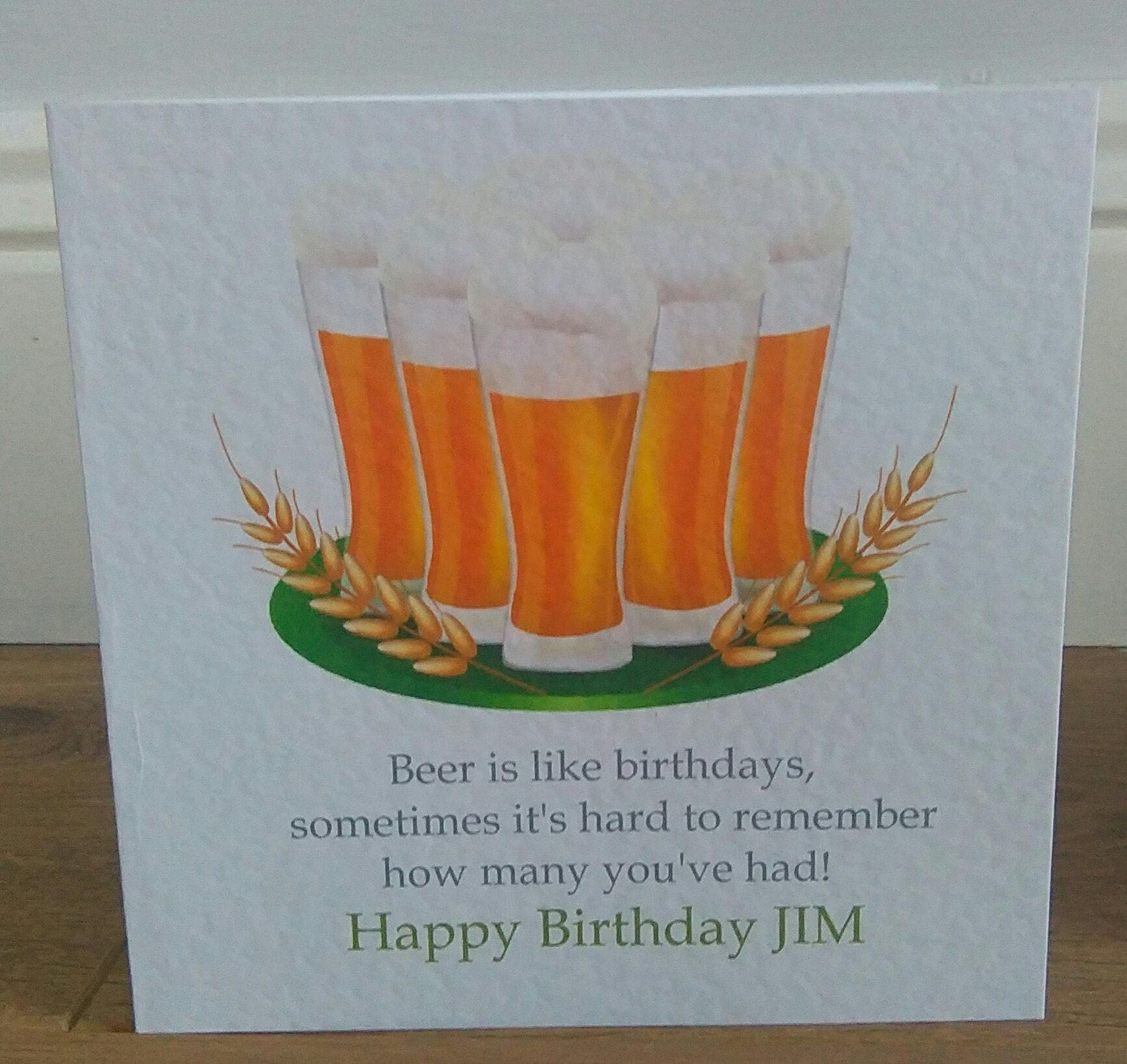 Personalised Humorous Lager Beer Pint Birthday Card Any Text