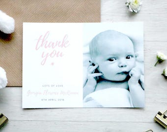 Starry Script Personalised Baby Thank You Announcement - A6 Linen Postcard