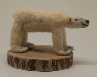Small Needle Felted Polar Bear Sculpture