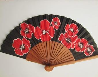 Hand painted silk fan.